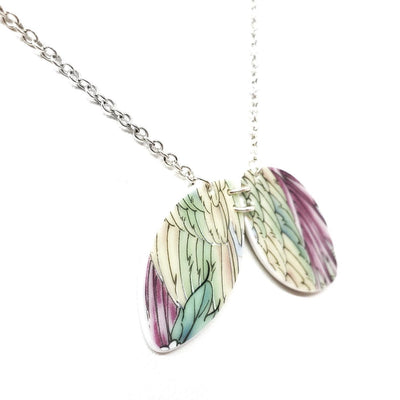 Necklace - Duo Vintage China Green and Purple Wings by Material+Movement