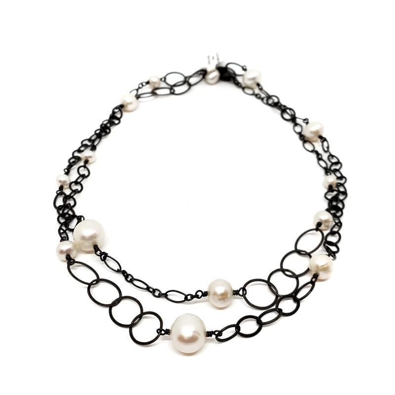 Necklace - Pearls & Oxidized Silver Chain (31 inches) by Calliope Jewelry