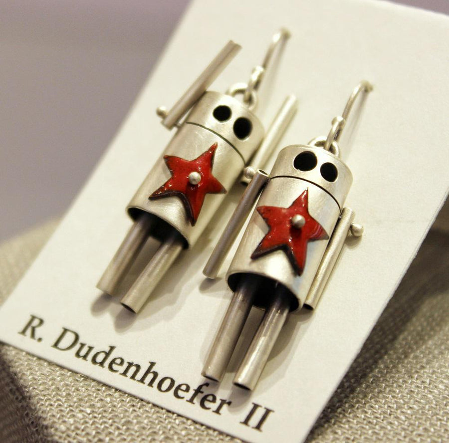 Earrings - ROBots - Red Enamel Stars Sterling Silver by Robert Dudenhoefer II