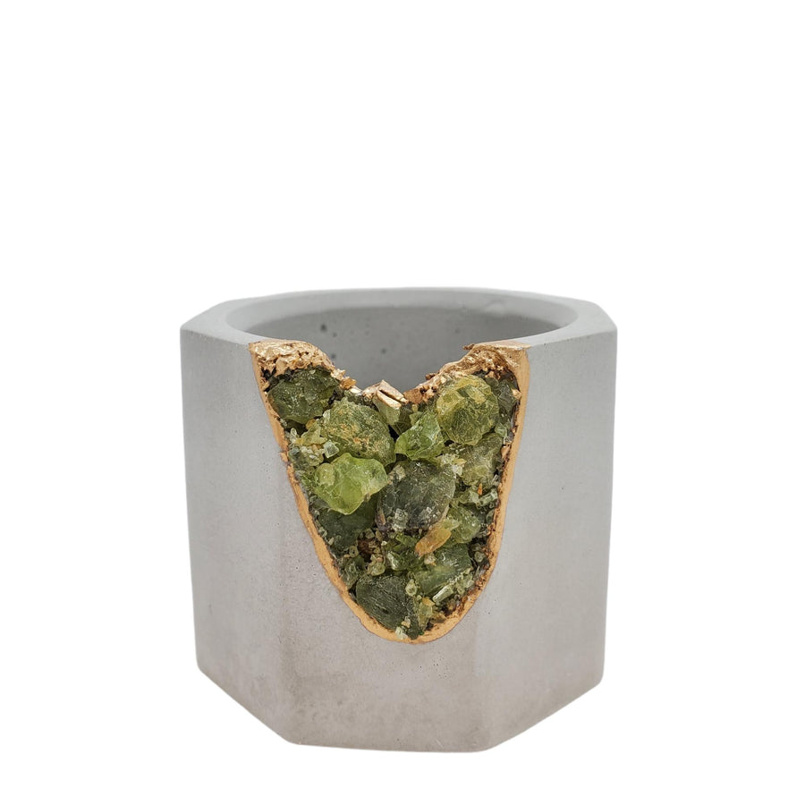 Vessel - Small Peridot Geode Light Gray (A or B) by Tal and Bert