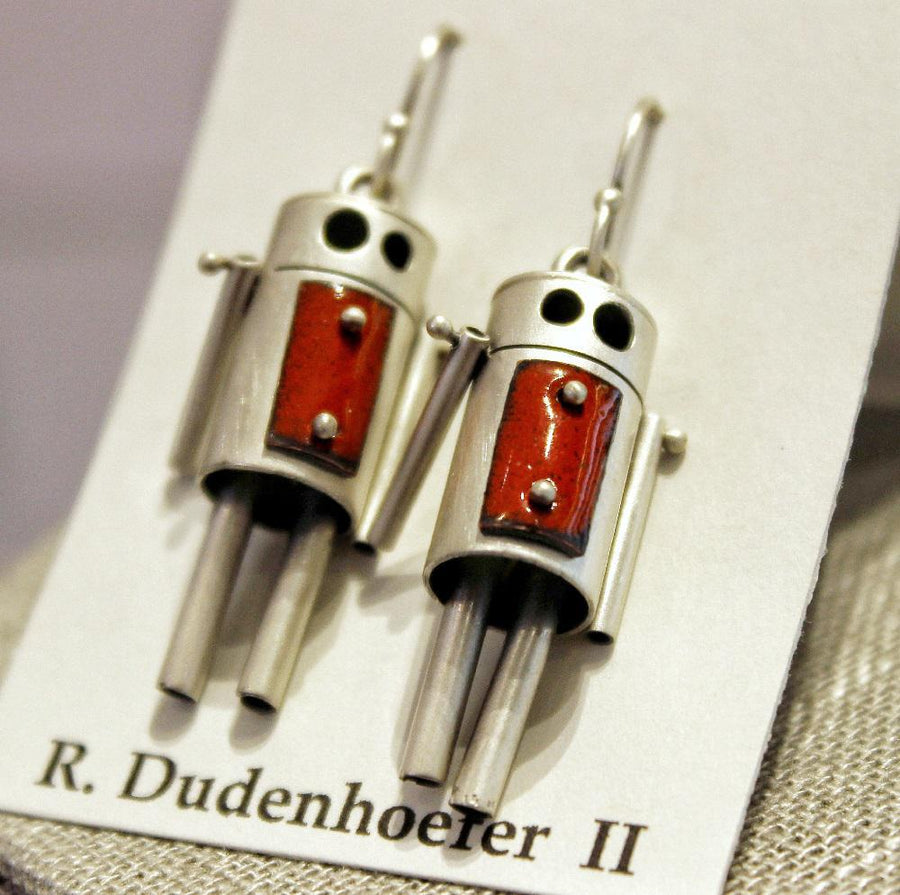 Earrings - ROBots - Red Enamel Sterling Silver (RD59) by Robert Dudenhoefer II