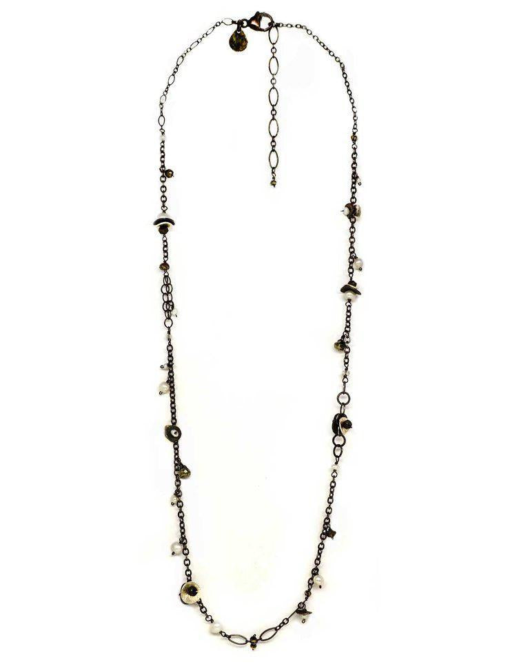 Necklace - Silver discs with Pearls, Pyrite and Quartz by Calliope Jewelry