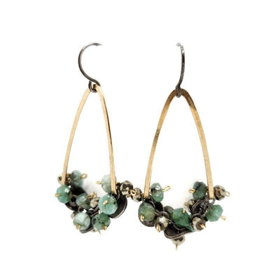 Earrings - Emerald and Pyrite Beads on Gold V-shape by Calliope Jewelry