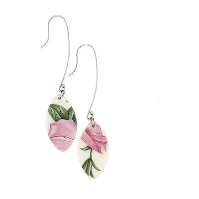 Earrings - Long Pink Floral Vintage China by Material+Movement