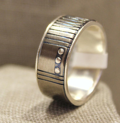 Ring - Size 9.75 - Titanium Blue Grooves with Sterling Silver Lining and Rivets by Taviametal