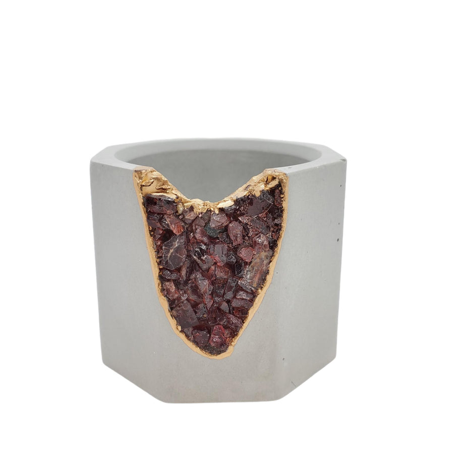 Vessel - Small Garnet Geode Light Gray (A or B) by Tal and Bert