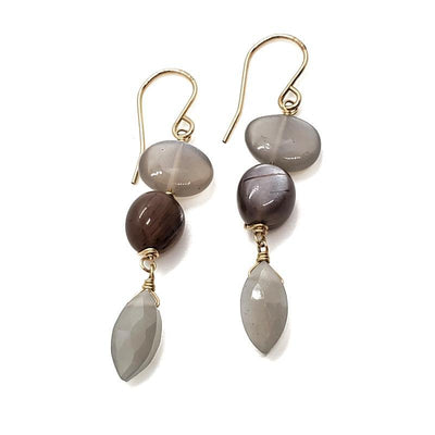 Earrings - Smooth Gray and Chocolate Moonstone Beads with Gray Moonstone Marquis by Calliope Jewelry