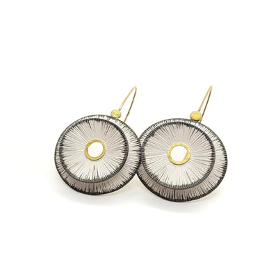 Earrings - Sand Dollars Double Bright with pebbles by Susan Mahlstedt