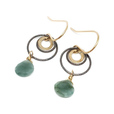 Earrings - Oxidized Sterling Gold-fill Circles Emerald Teardrop  by Calliope Jewelry