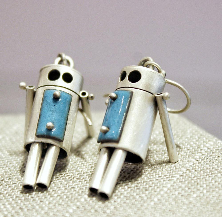Earrings - ROBots - Aqua Rectangles Sterling Silver by Robert Dudenhoefer II