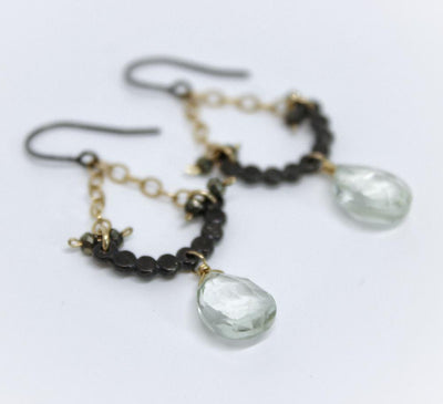 Earrings - Bead half moon shape, pyrite and green amy pear by Calliope Jewelry