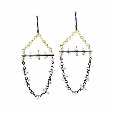 Earrings - Freshwater Pearl Chain Swag (GF and SS) by Calliope Jewelry