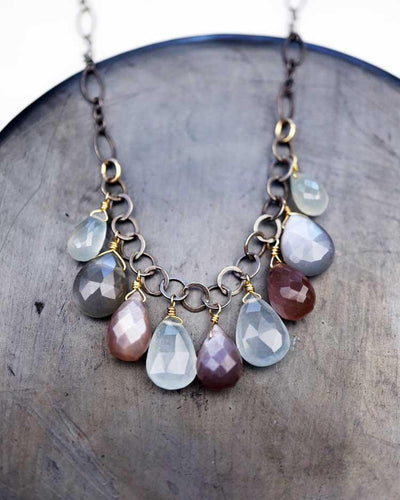 Necklace - Aquamarine, Gray, and Chocolate Moonstone Cluster by Calliope Jewelry