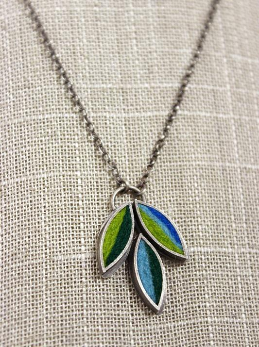 Necklace - Lotus Flower Blue/Green by Michele A Friedman
