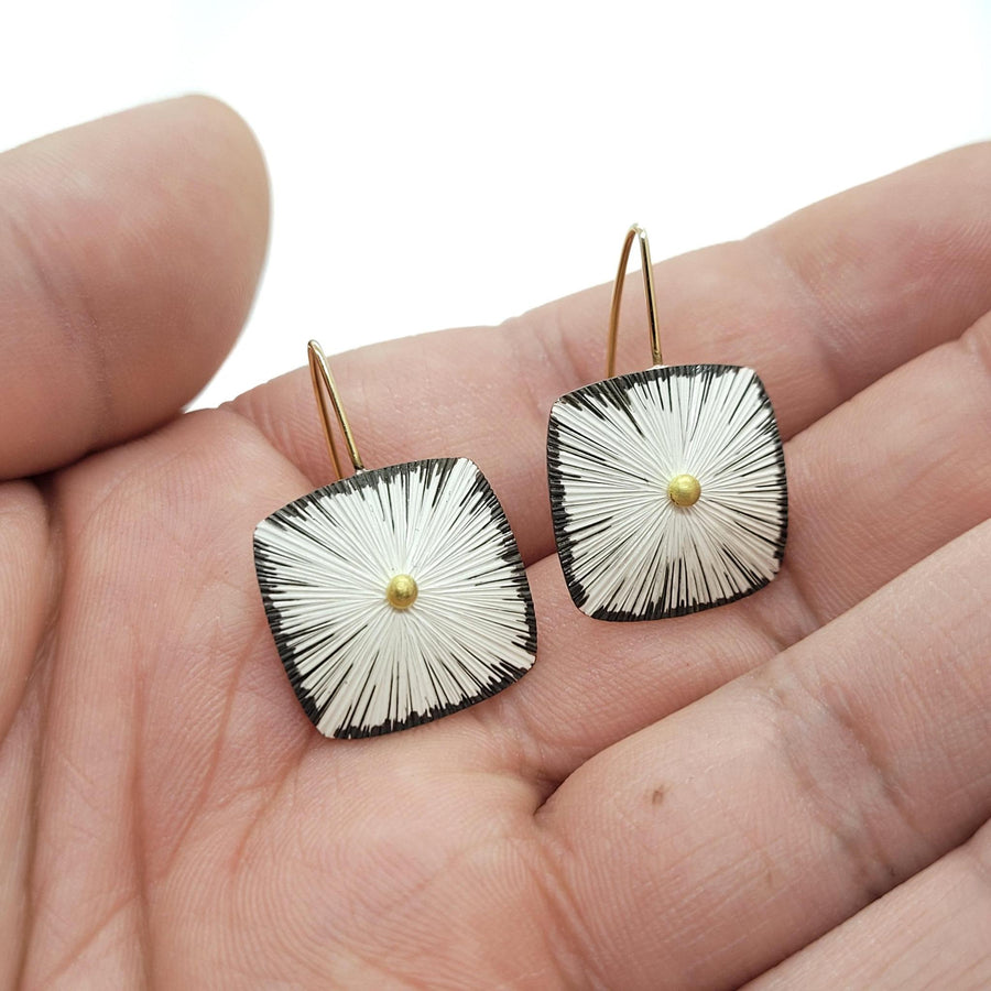 Earrings - Squares Bright Sterling with 18K Gold Beads by Susan Mahlstedt