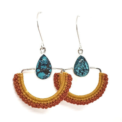 Earrings - OOAK Flame Hubei Turquoise Arcos by Twyla Dill