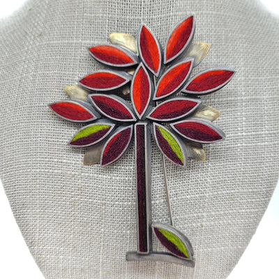 Brooch Pin - Autumn Perfect Tree Hot/Earth Tone Palette by Michele A Friedman