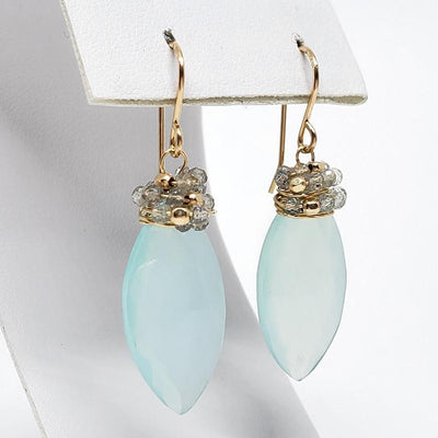 Earrings - Chalcedony Almonds Moonstones Gold-fill by Calliope Jewelry