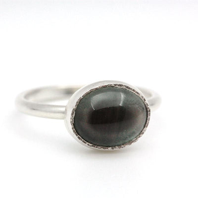 Ring - Size 8 - OOAK Oregon Olive Sunstone Sterling Silver by Silver + Salt