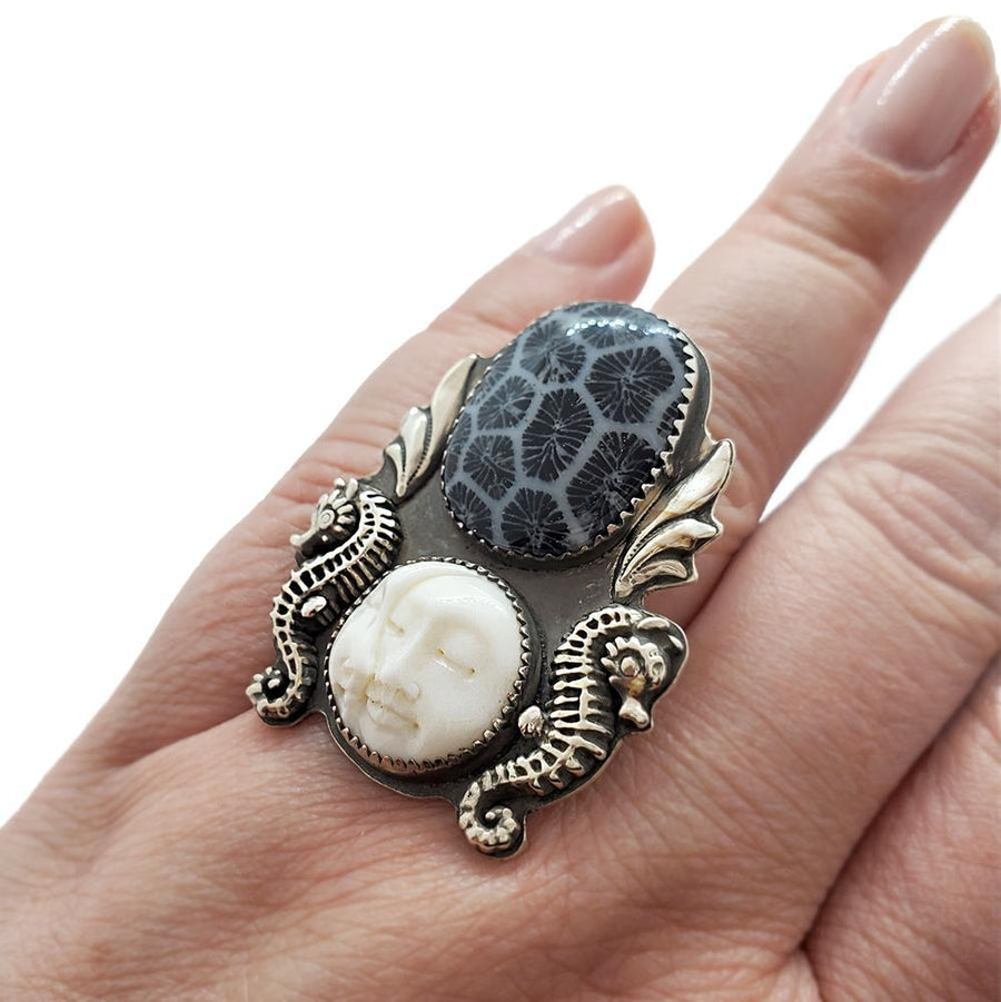 Ring - Size 10 - Fossilized Coral with Sun-Moon OOAK Sterling by Wanderlust Silver