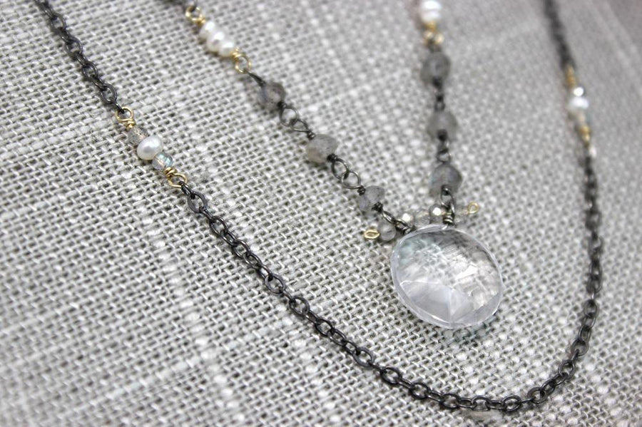 Necklace - Labradorite Bead Chain with Pearls and Quartz Coin by Calliope Jewelry