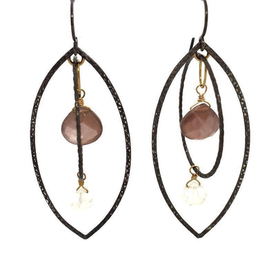 Earrings - Marquis Circle Mobile with Chocolate Moonstone and White Chalcedony by Calliope Jewelry