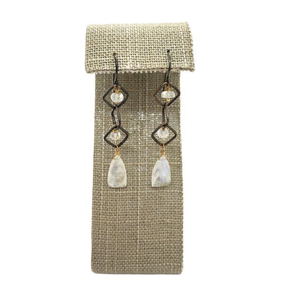 Earrings - Oxidized Square Chain with Rainbow Moonstones by Calliope Jewelry