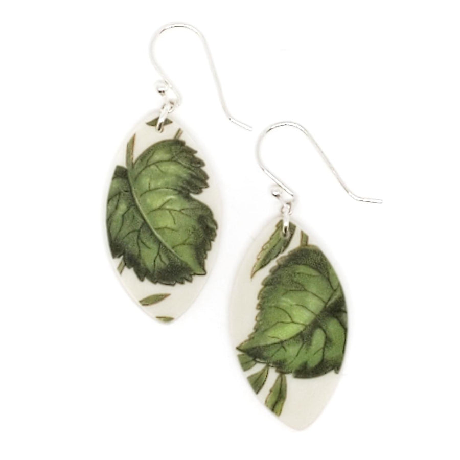 Earrings - Short Green Leaf Vintage China by Material+Movement