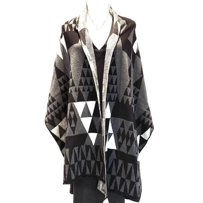 Geo Triangles Wrap - Grey Black and Charcoal by Liamolly