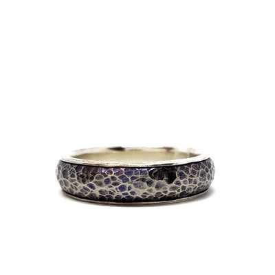 Ring - Size 12.25 – Sterling Silver Lined Titanium Half-Round by Taviametal