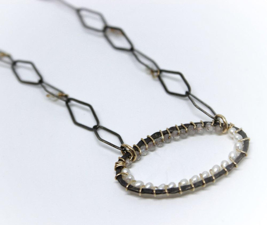 Necklace - Labradorite, Pearl by Calliope Jewelry