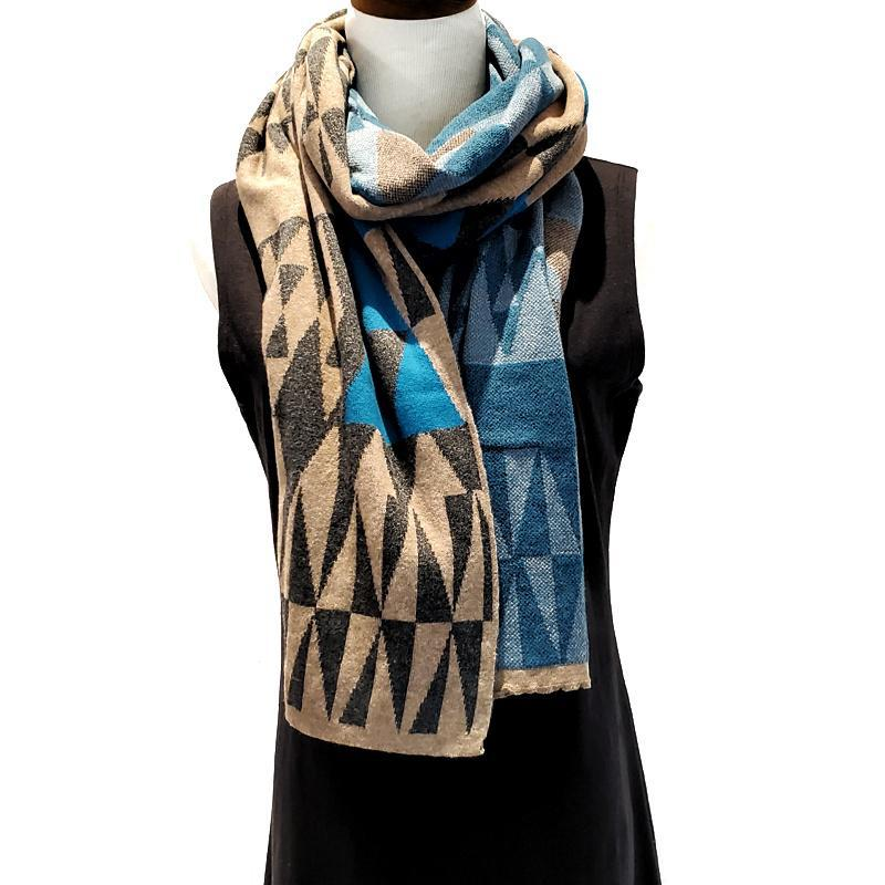 Geo Triangles Wrap - Turquoise Charcoal and Mink by Liamolly