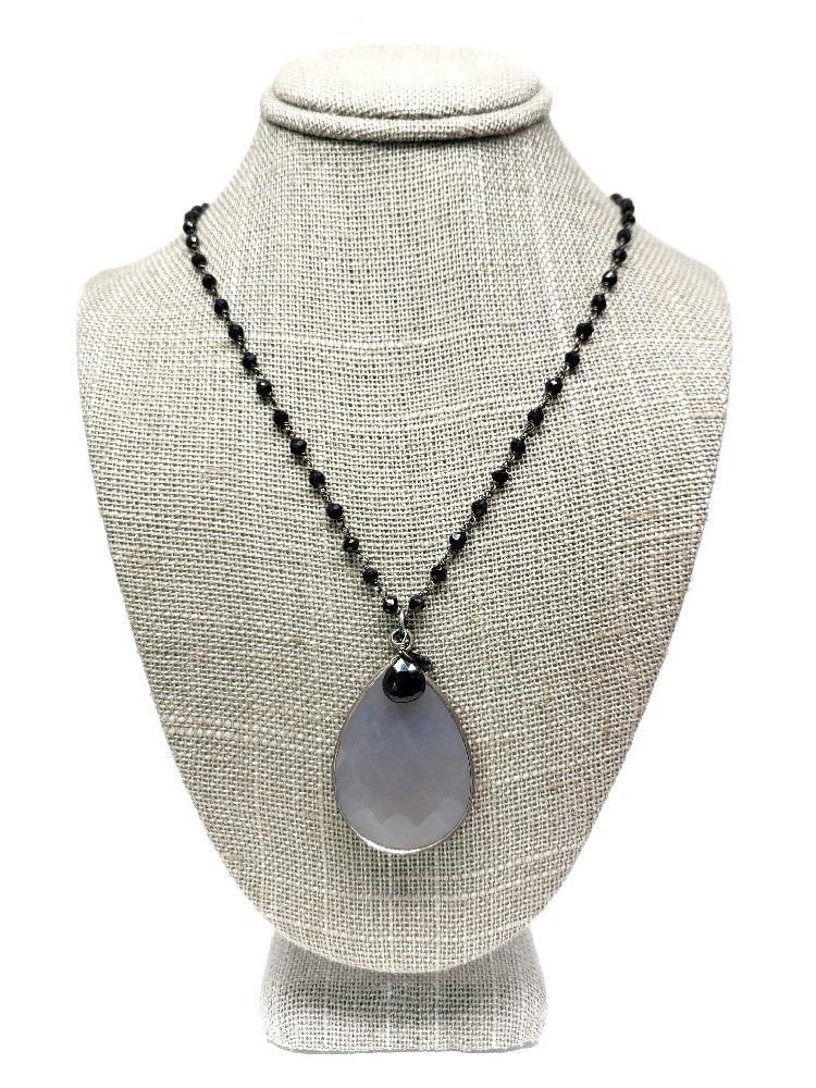 Necklace - Grey Moonstone Bezel Pendant on Black Spinelle by Calliope Jewelry