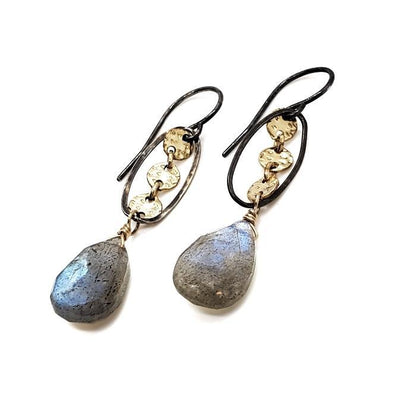Earrings - Labradorite Drop with Gold Discs and Oxidized Oval by Calliope Jewelry