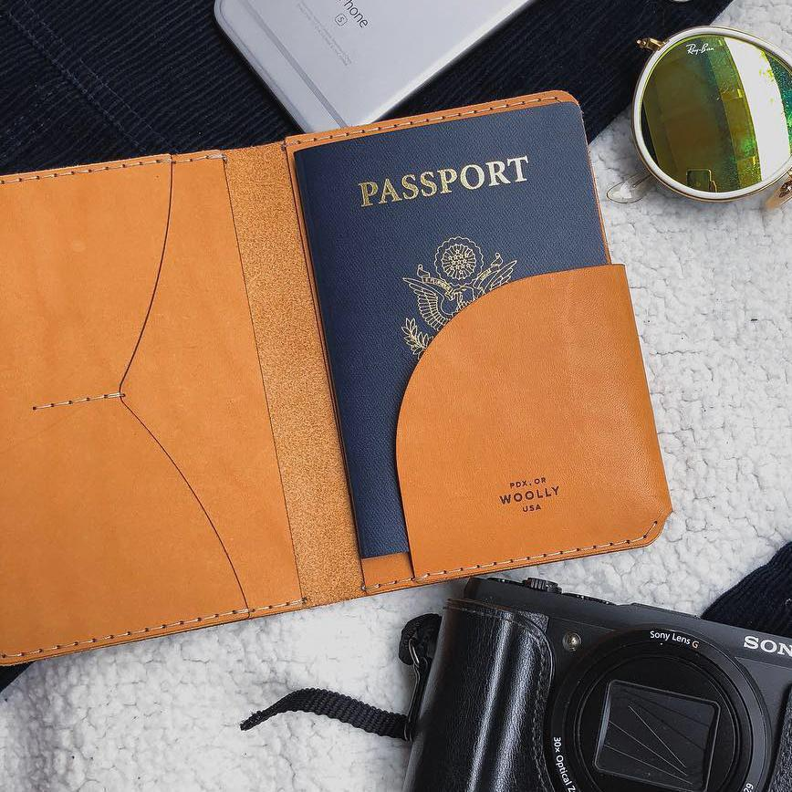 Passport Holder - Black Smooth Leather by Woolly