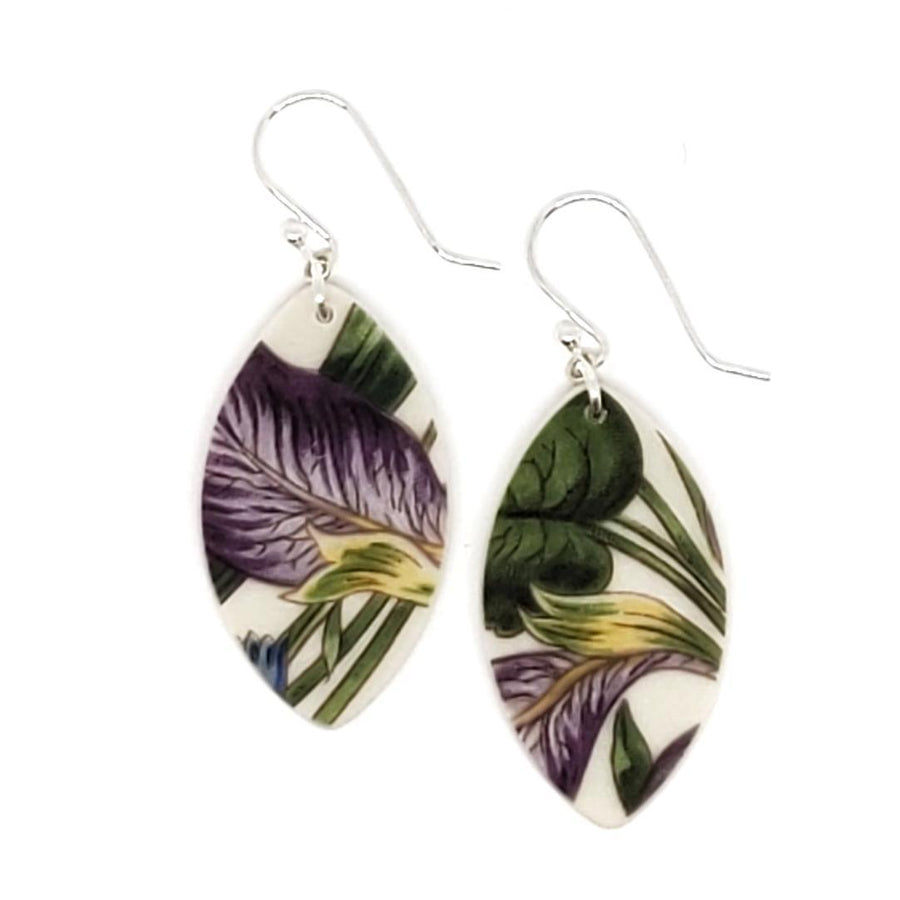 Earrings - Short Green and Purple Leaf Vintage China by Material+Movement