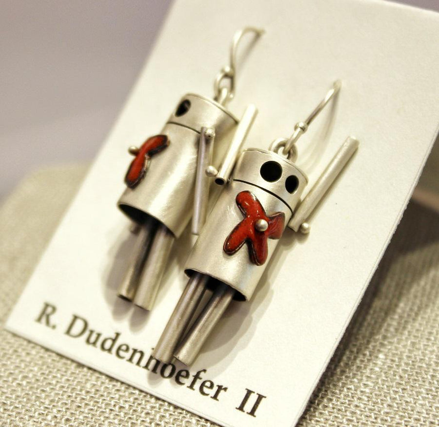 Earrings - ROBots - Red Flower Enamel Sterling Silver (RD58) by Robert Dudenhoefer II