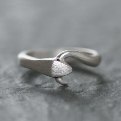 Ring -  Sterling Silver Large Snake Tail with Ruby by Michelle Chang