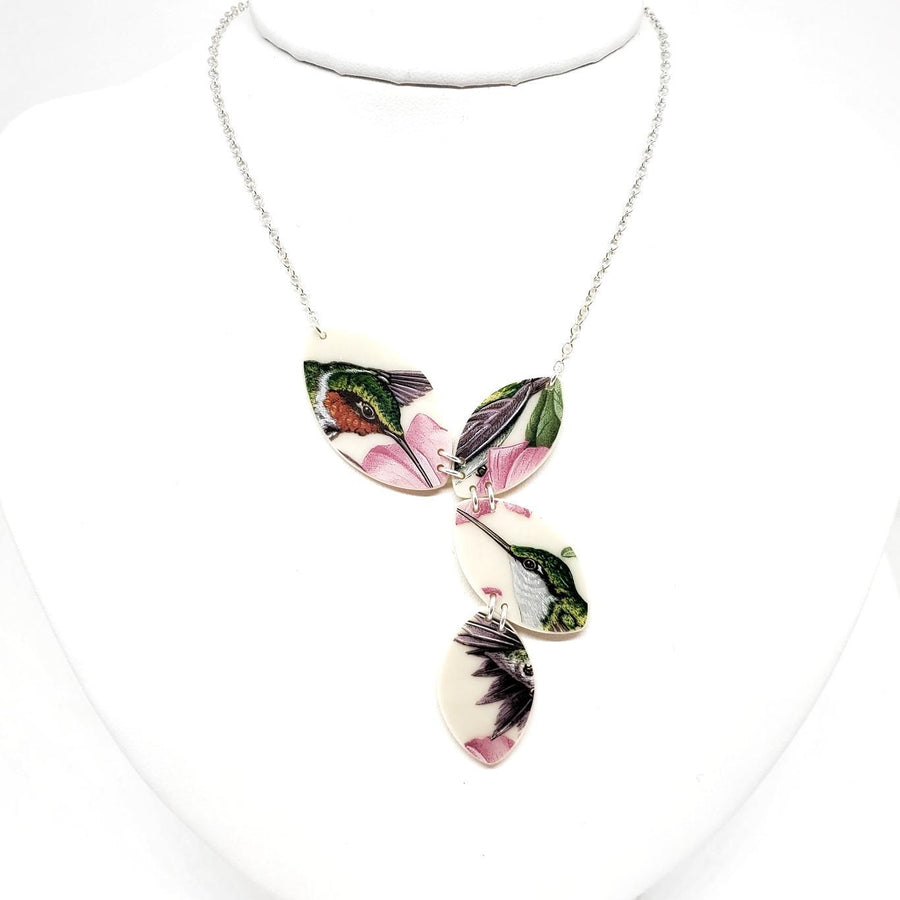 Necklace - Quad Vintage China Hummingbirds by Material+Movement