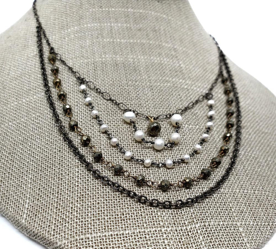Necklace - Multi strand,pearl and pyrite bead chain by Calliope Jewelry