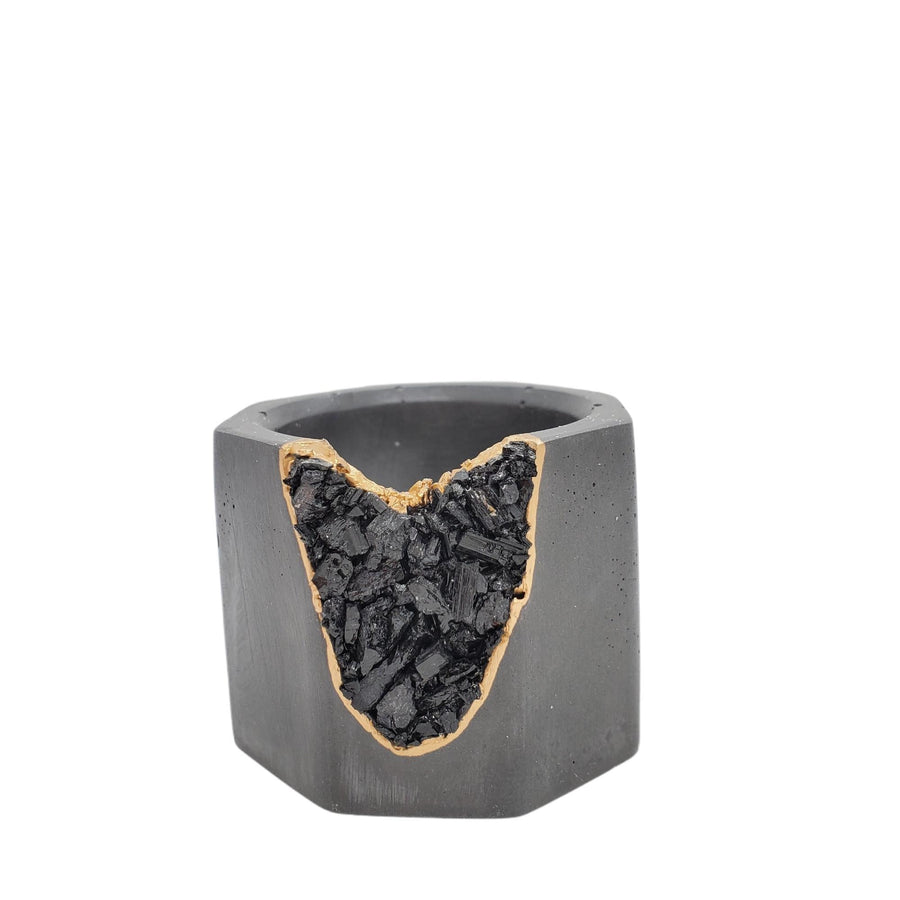 Vessel - Small Black Tourmaline Geode Charcoal Gray (A or B) by Tal and Bert