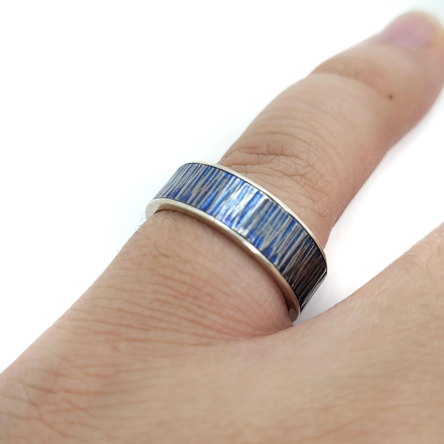 Ring - Size 9.75 - Organic Linear Texture Blue Patina Ti and SS by Taviametal