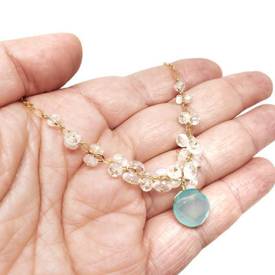 Necklace - Chalcedony Drop Moonstone Clusters by Calliope Jewelry
