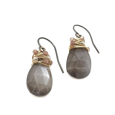 Earrings - Gray Moonstone Pear Wrapped with Chocolate Moonstone and Quartz by Calliope Jewelry