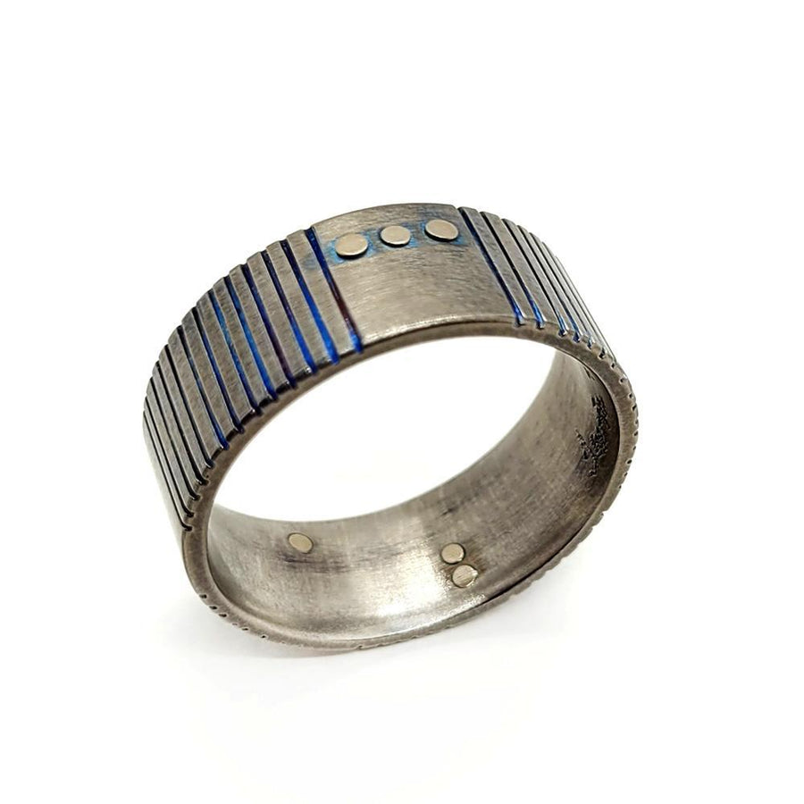 Ring - Size 12 - Titanium Blue Patina Grooves with 14KPW Rivets by Taviametal