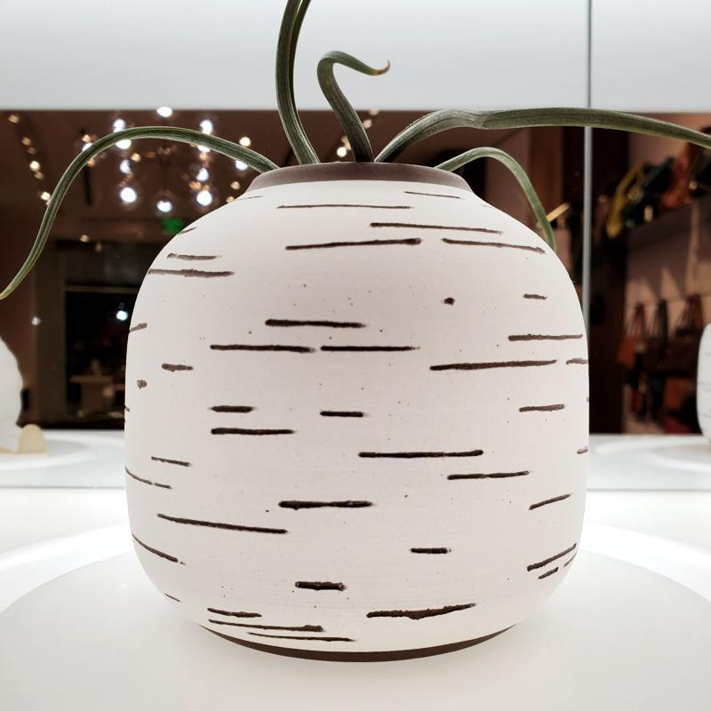 Birch Vase - Round White by Justin Caraco Ceramics