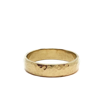 Bridal Ring - 5mm Hammered 14k Yellow Gold by Silver + Salt