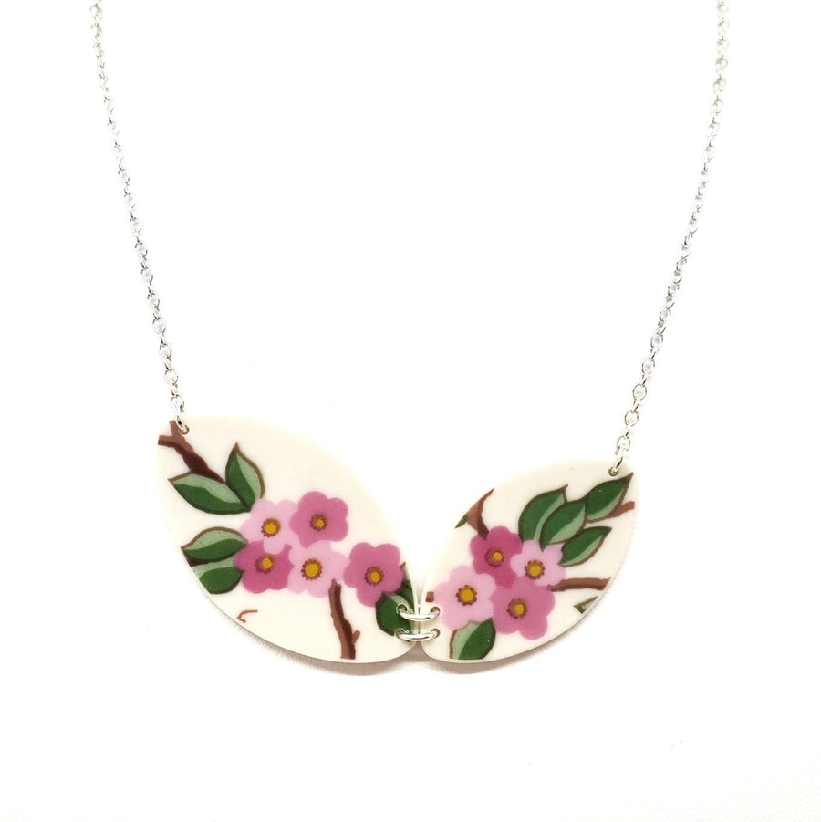 Necklace - Duo Bright Cherry Blossoms Vintage China by Material+Movement