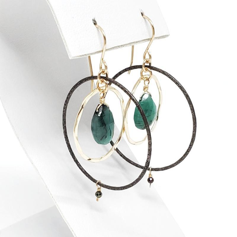 Earrings - Emerald Pear Drop Gold-fill Circle Oxidized Sterling by Calliope Jewelry