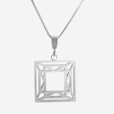 Pendant - Princess Cut Shiny Sterling Silver by LaObjeteria